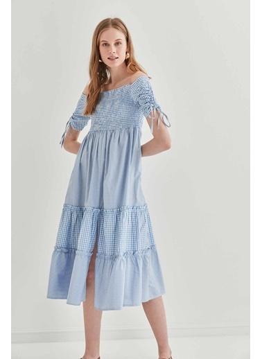 Vitrin Kollar Büzmeli Gipeli Country Elbise Mavi